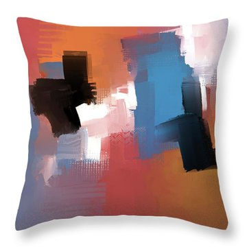 Throw Pillow featuring the mixed media Balancing Act by Eduardo Tavares