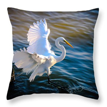 Throw Pillow featuring the photograph Balancing Act  Great White Egret  by Ola Allen