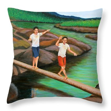 Balancing Life Through A Straight And Narrow Path Throw Pillow