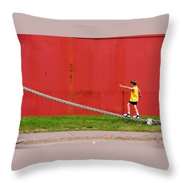 Balancing On Harbor Time Throw Pillow