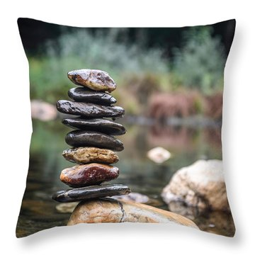 Balancing Zen Stones In Countryside River I Throw Pillow by Marco Oliveira