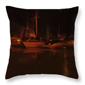 Balboa Island Newport Bay Night Throw Pillow by Angela A Stanton