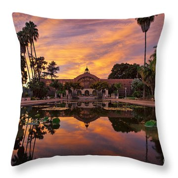 Balboa Park Botanical Building Sunset Throw Pillow