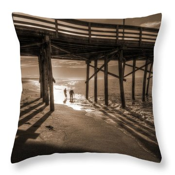 Balboa Pier Fishermen Throw Pillow