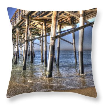 Balboa Pier Pylons Throw Pillow