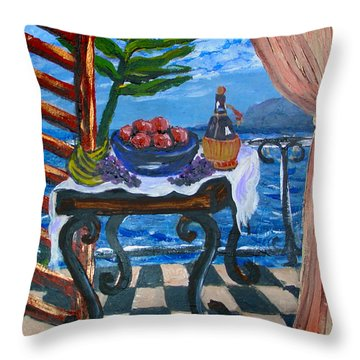 Balcony By The Mediterranean Sea Throw Pillow by Karon Melillo DeVega