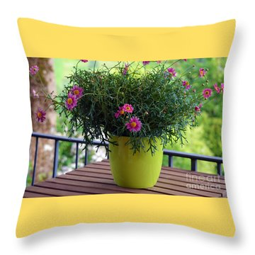 Throw Pillow featuring the photograph Balcony Flowers by Susanne Van Hulst