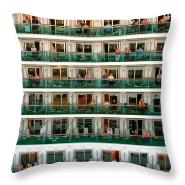 Balcony People Throw Pillow by Perry Webster