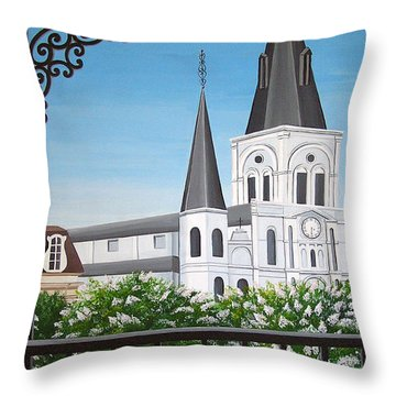 Balcony View Of St Louis Cathedral Throw Pillow