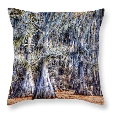Bald Cypress In Caddo Lake Throw Pillow by Sumoflam Photography