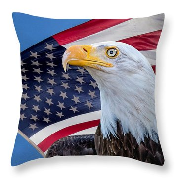 Bald Eagle And American Flag Throw Pillow