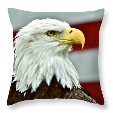 Bald Eagle And Old Glory Throw Pillow