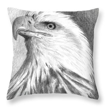 Bald Eagle Throw Pillow by Arline Wagner