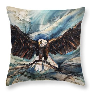 Throw Pillow featuring the painting Bald Eagle by Christy Freeman