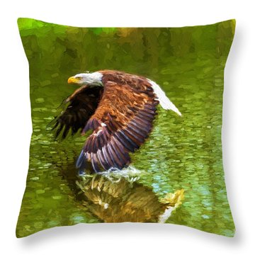 Bald Eagle Cutting The Water Throw Pillow