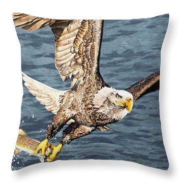 Bald Eagle Fishing  Throw Pillow