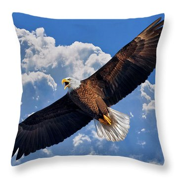 Bald Eagle In Flight Calling Out Throw Pillow by Justin Kelefas