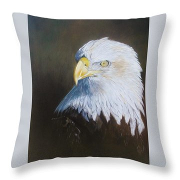 Bald Eagle Throw Pillow by Jean Yves Crispo