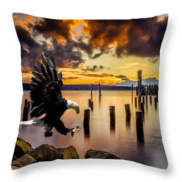 Bald Eagle Landing At Beach As Sun Sets Throw Pillow