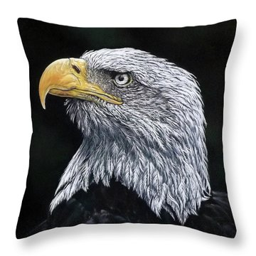 Bald Eagle Throw Pillow by Linda Becker