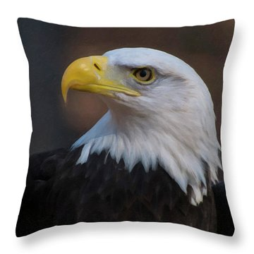 Throw Pillow featuring the digital art Bald Eagle Painting by Chris Flees