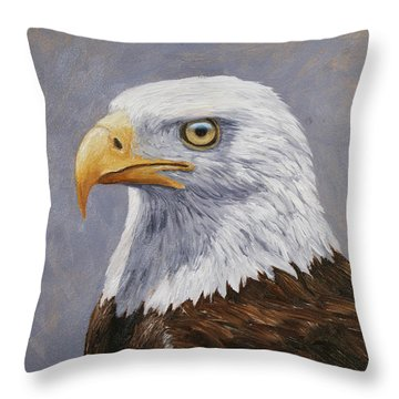 Bald Eagle Portrait Throw Pillow by Crista Forest