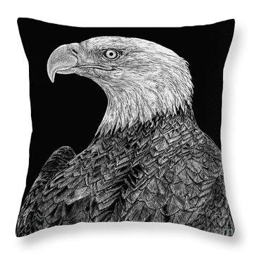 Bald Eagle Scratchboard Throw Pillow