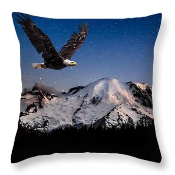 Throw Pillow featuring the photograph Bald Eagle Soaring By Mt Rainier Under Stars by Rob Green