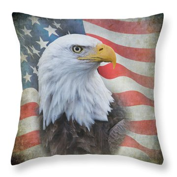 Throw Pillow featuring the photograph Bald Eagle With American Flag by Angie Vogel