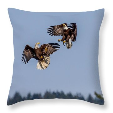 Bald Eagles Battle In Flight Throw Pillow
