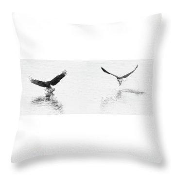 Bald Eagles Fishing Throw Pillow