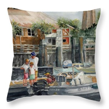 Bald Head Is. Marina Viiew Throw Pillow