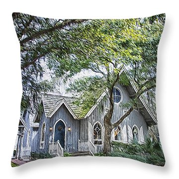 Bald Head Island Chapel Throw Pillow