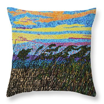 Bald Head Island, Sea Oat Sunset Throw Pillow by Micah Mullen