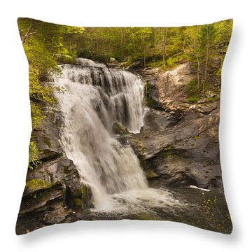 Bald River Falls Spring Throw Pillow by Rebecca Hiatt