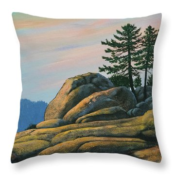 Throw Pillow featuring the painting Bald Rock At Sunset by Frank Wilson