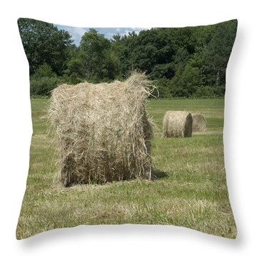 Bales Of Hay In New England Field Throw Pillow by Erin Paul Donovan
