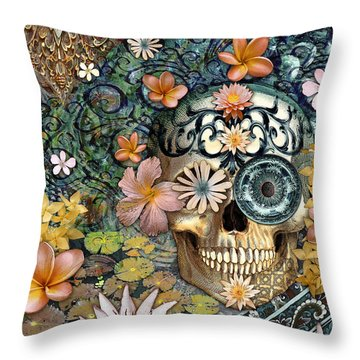 Bali Botaniskull - Floral Sugar Skull Art Throw Pillow by Christopher Beikmann