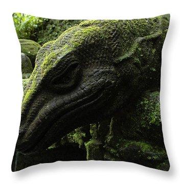 Bali Indonesia Lizard Sculpture Throw Pillow by Bob Christopher
