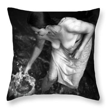 Balinese Bather Throw Pillow