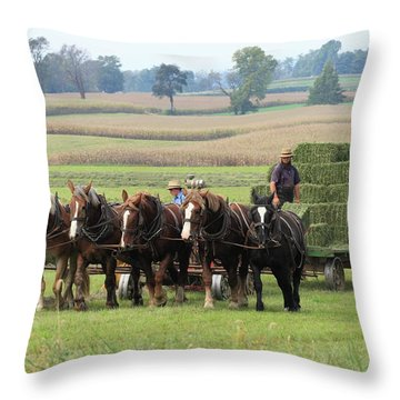 Baling The Hay Throw Pillow