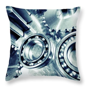 Ball-bearings And Cogs In Titanium Throw Pillow by Christian Lagereek