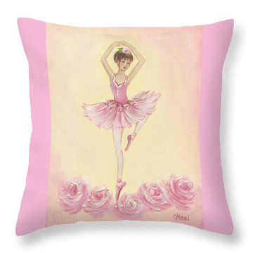 Ballerina Beauty Painting Throw Pillow by Chris Hobel