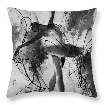 Ballerina Dance Black And White  Throw Pillow by Gull G