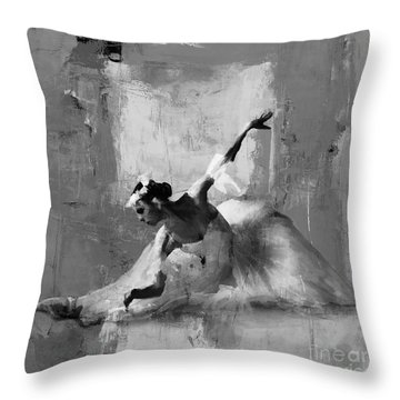 Ballerina Dance On The Floor  Throw Pillow by Gull G
