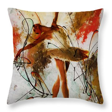 Ballerina Dance Original Painting 01 Throw Pillow by Gull G