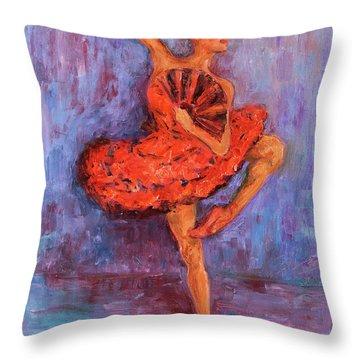 Ballerina Dancing With A Fan Throw Pillow