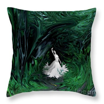 Throw Pillow featuring the photograph Ballerina In Wonderland by Rebecca Margraf