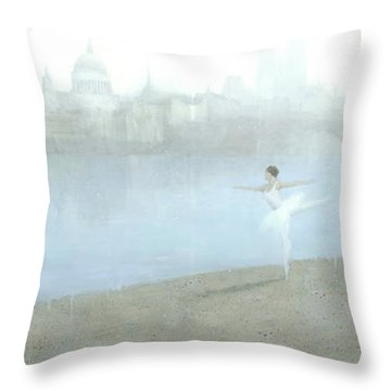 Ballerina On The Thames Throw Pillow