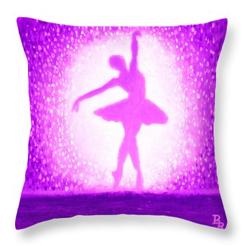 Throw Pillow featuring the painting Ballerina Purple And Pink by Bob Baker